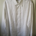 Simple Long Sleeved White Linen